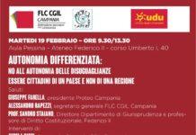 Locandina iniziativa sull'autonomia differenziata che si svolgerà Martedì 19 febbraio 2019 - ore 9,30-13,30 presso Aula Pessina - Ateneo Federico II - corso Umberto I, 40 NAPOLI